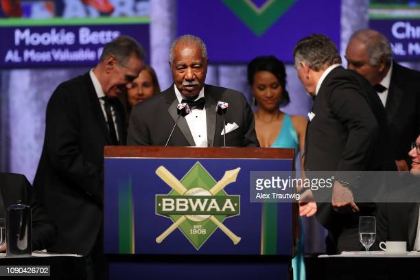 Cleon Jones speaks on behalf of the 1969 Mets winners of the Willie Mickey the Duke Award during the 2019 Baseball Writers' Association of America...