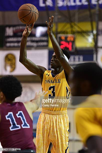 Cleon Roberts of the La Salle Explorers shoots against the Pennsylvania Quakers during the second half at Tom Gola Arena on January 25 2017 in...