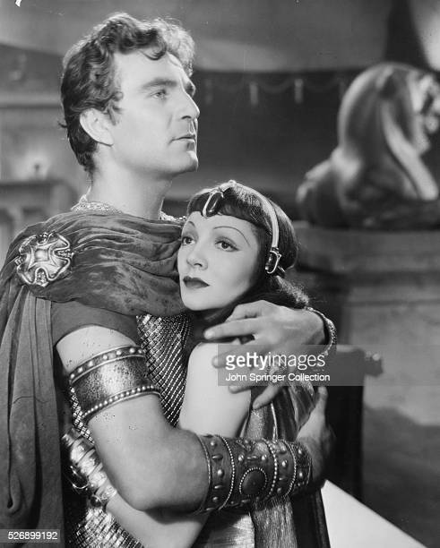 Cleopatra and Marc Antony hold each other in a scene from Cleopatra