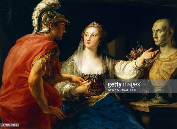 Cleopatra before Augustus or Cleopatra showing Octavius the bust of Julius Caesar 17601770 by Pompeo Batoni oil on canvas 105x137 cm 18th century...