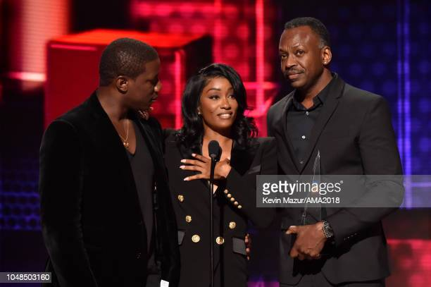 Cleopatra Bernard accepts the award for Favorite Album Soul/RB on behalf of XXXTentacion onstage during the 2018 American Music Awards at Microsoft...