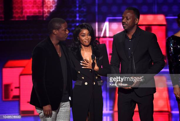 Cleopatra Bernard accepts the award for Favorite Album Soul/RB on behalf of the late XXXTentacion onstage during the 2018 American Music Awards at...