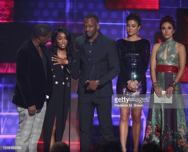 Cleopatra Bernard accepts the Favorite Album Soul/RB award on behalf of the late XXXTentacion onstage during the 2018 American Music Awards at...