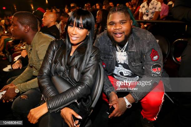 Cleopatra Bernard and Fatboy SSE are seen backstage during the BET Hip Hop Awards 2018 at Fillmore Miami Beach on October 6 2018 in Miami Beach...