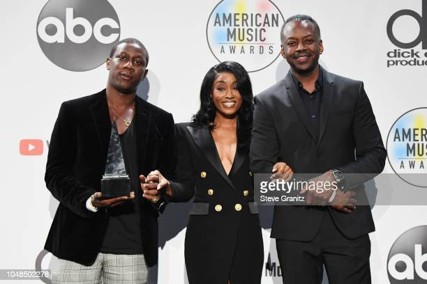 Cleopatra Bernard who accepts the award for Favorite Album Soul/RB on behalf of XXXTentacion poses in the press room during the 2018 American Music...