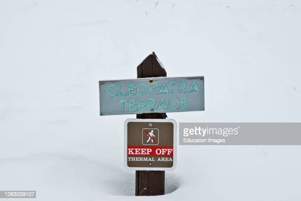 Cleopatra Terrace sign at Mammoth Hot Springs in Yellowstone National Park in Wyoming
