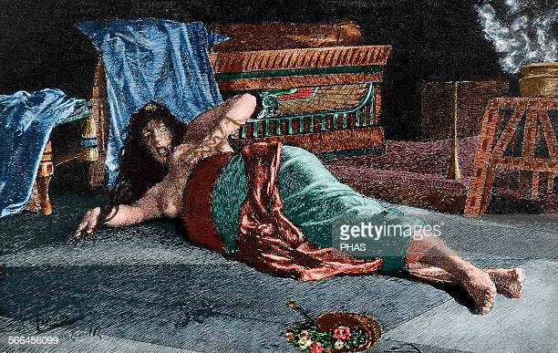 Cleopatra VII Philopator Queen of Egypt The death of Cleopatra Engraving in The Artistic Illustration 1888 Colored