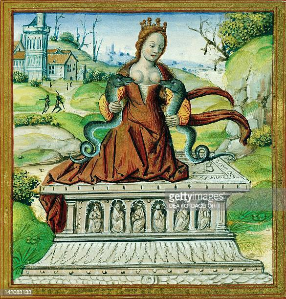 Cleopatra with two snakes miniature from The Lives of Famous Women by Antoine Dufour manuscript France 16th Century