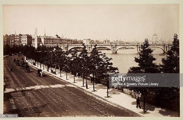 Cleopatra�s Needle the old Waterloo Bridge and St Paul�s in the distance A photograph from an album containing sixty photographic views of London...