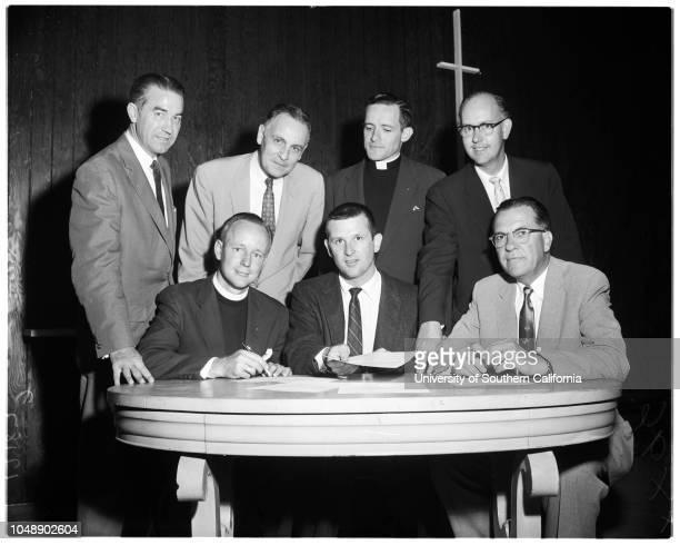 Clergy ask nuclear test halt 14 August 1957 The Reverend J Ogden Hoffman JuniorReverend John R ShafferReverend Hoke Smith DickinsonReverend Melvin E...