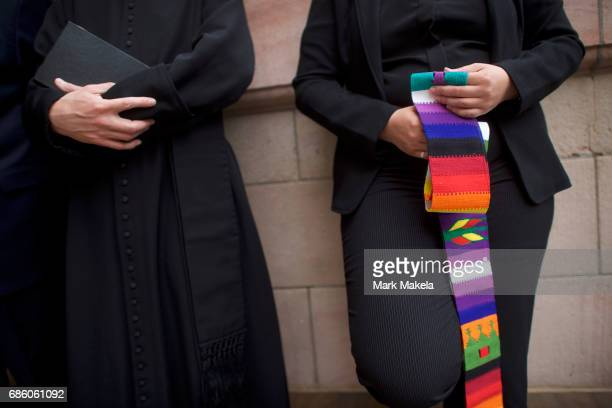 Clergy attend a counter protest rally organized by the NAACP in response of a planned Klu Klux Klan rally to be held nearby May 20 2017 in Lancaster...