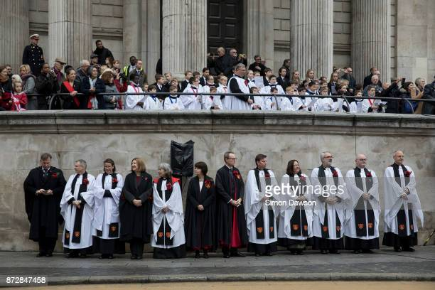Clergy from Saint Paul's Cathedral look on during the Lord Mayors Show on November 11 2017 in London England The Lord Mayor's Show now in its 802nd...