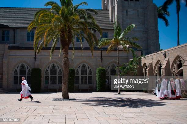 Clergy members prepare for Easter service at the Church of BethesdabytheSea where US President Donald Trump is attending in Palm Beach Florida April...