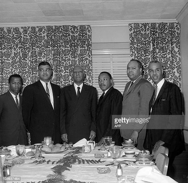 Clergyman and civil rights leader Martin Luther King and other major American leaders of the Black civil rights movement John Lewis, Whitney Young,...