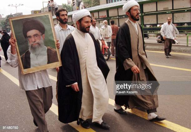 Clerics on a proleader demonstration in Tehran in support of Ayatollah Ali Khamenei after the city's student riots 14th July 1999 The riots caused...