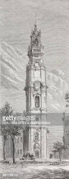 Clerics tower Porto drawing by Lancelot from Travels in the northern provinces of Portugal by LucOlivier Merson from Il Giro del mondo Journal of...