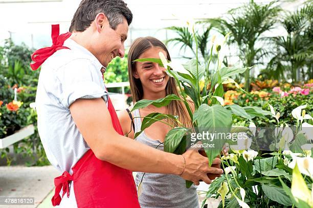 clerk and customer in a garden center store - peace lily stock pictures, royalty-free photos & images