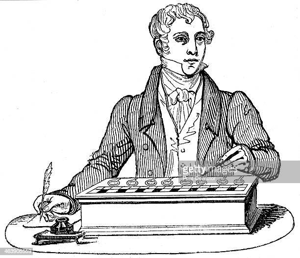 Clerk using an adding machine of the type developed by Blaise Pascal 1835