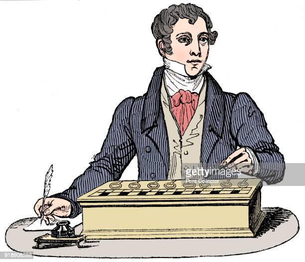 Clerk using an adding machine of the type developed by Blaise Pascal 1835 Artist Unknown