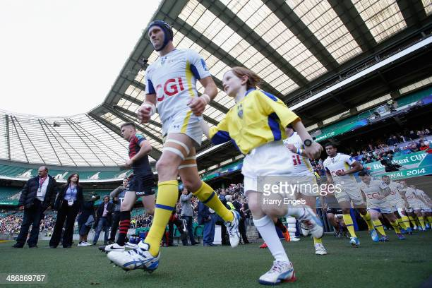 Clermont Auvergne captain Julien Bonnaire leads his team onto the pitch during the Heineken Cup SemiFinal match between Saracens and ASM Clermont...