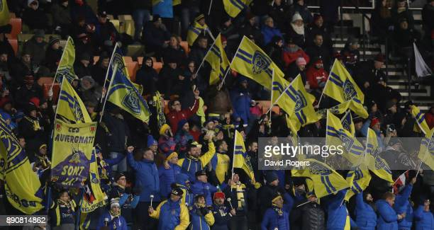 Clermont Auvergne fans celebrate during the European Rugby Champions Cup match between Saracens and ASM Clermont Auvergne at Allianz Park on December...
