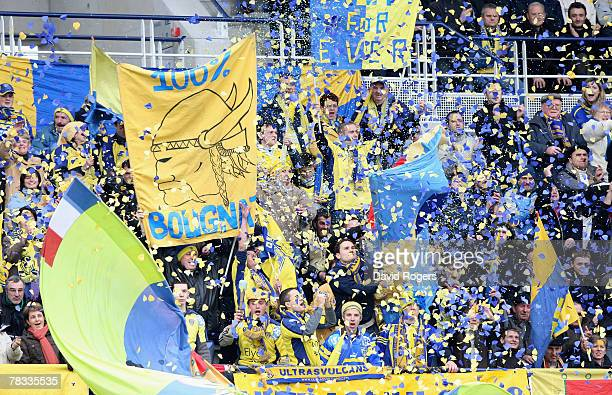 Clermont Auvergne fans celebrate during the Heineken Cup match between ASM Clermont Auvergne and London Wasps at Stade Marcel Michelin on December 8,...