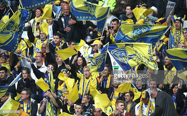Clermont Auvergne fans shout encouragement during the European Rugby Champions Cup semi final match between ASM Clermont Auvergne and Saracens at...