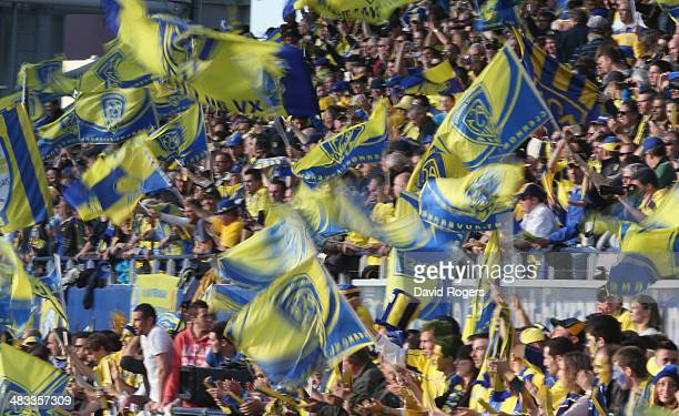 Clermont Auvergne supporters celebrate during the Heineken Cup quarter final match between Clermont Auvergne and Leicester Tigers at Stade Marcel...