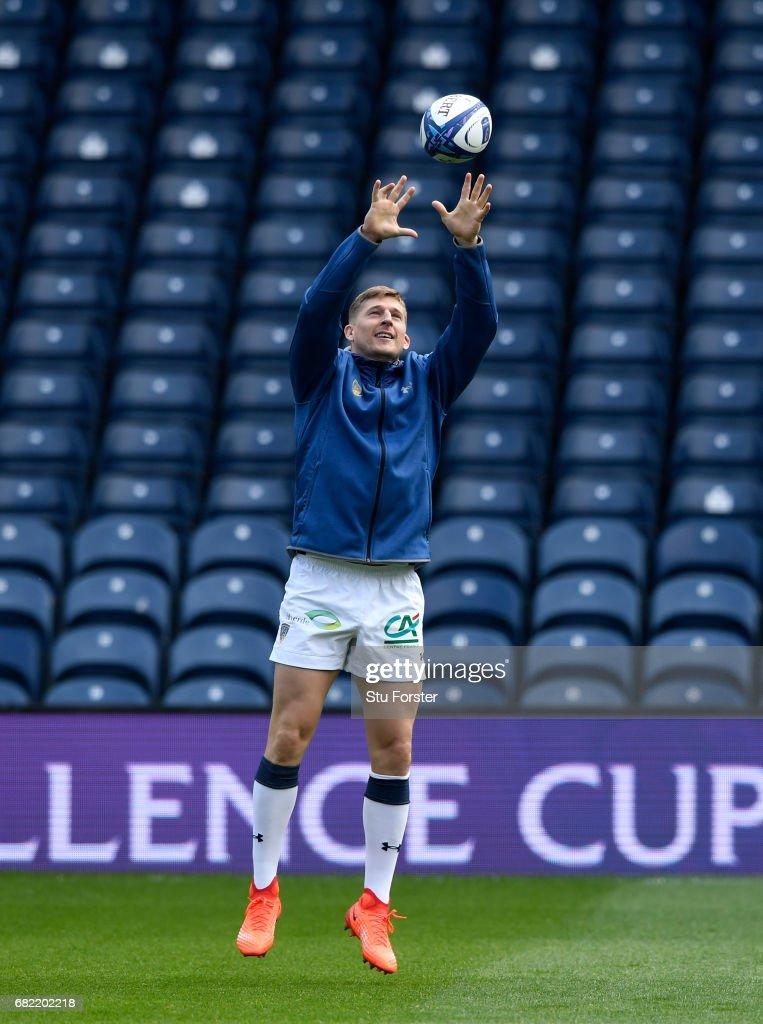 Clermont Auvergne wing David Strettle in action during the captains run before the 2017 European Rugby Champions Cup Final at Murrayfield Stadium on May 12, 2017 in Edinburgh, Scotland.