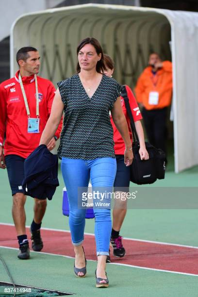 Clermont coach Corinne Diacre during the French League Cup match between Paris FC and Clermont Foot at Stade Charlety on August 22 2017 in Paris...