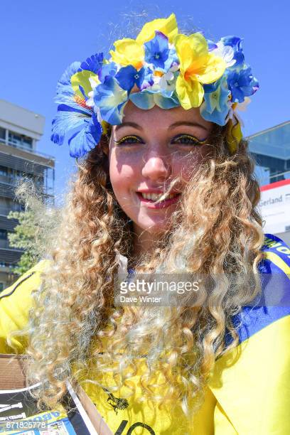 Clermont fan before the European Champions Cup semi final match between AS Clermont and Leinster on April 23 2017 in ClermontFerrand France