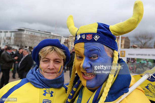 Clermont fans during the European Rugby Champions Cup quarter final match between Clermont Auvergne and Northampton Saints at the Stade Marcel...