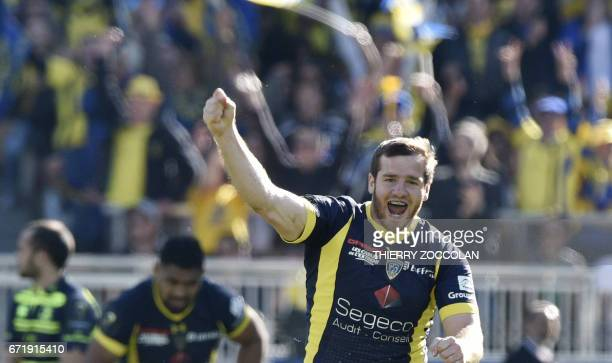 Clermont French flyhalf Camille Lopez jubilates after scoring a drop during the European Rugby Champions Cup semifinal match between ASM Clermont and...