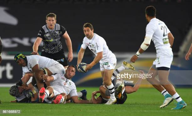 Clermont player Greig Laidlaw in action during the European Rugby Champions Cup match between Ospreys and ASM Clermont Auvergne at Liberty Stadium on...