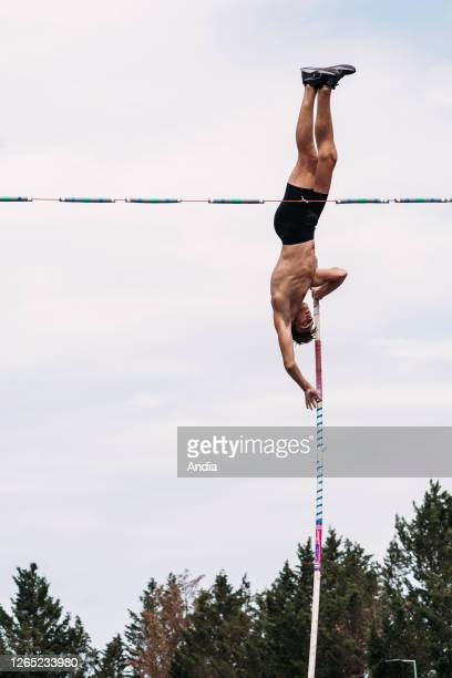 ClermontFerrand Training of the Swedish 18yearold pole vaulter Armand Duplantis new global pole vault star the youngest ever male athlete to win a...