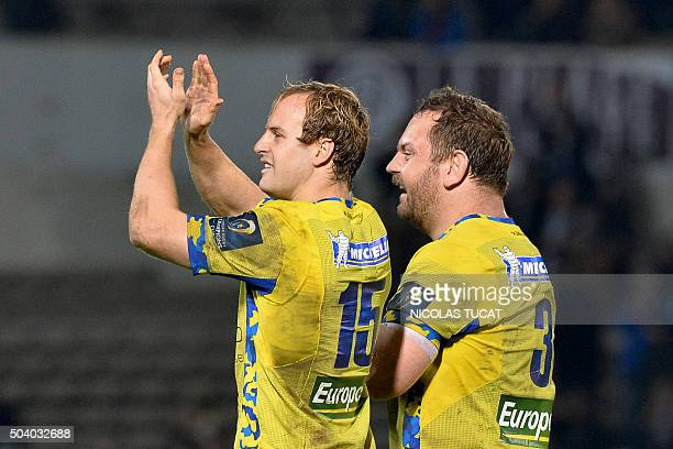 Clermont's Dutch fullback Nick Abendanon and French prop Daniel Kotze celebrate after winning the European Rugby Champions Cup rugby union match...