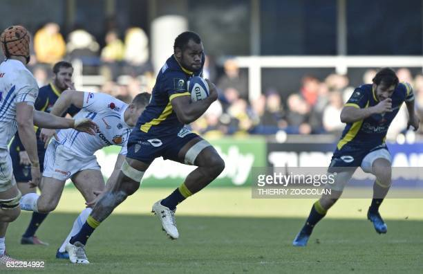 Clermont's Fidjian flanker Peceli Yato runs with the ball for a try during the European Champions Cup rugby union match between ASM Clermont and...