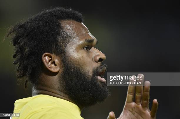 Clermont's Fijian winger Alivereti Raka reacts during the French rugby union match between ASM Clermont and CA Brive at Michelin stadium in...