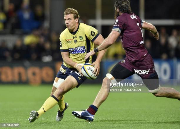 Clermont's French centre Aurelien Rougerie runs with the ball during the French Top 14 rugby union match between ASM Clermont and Union...