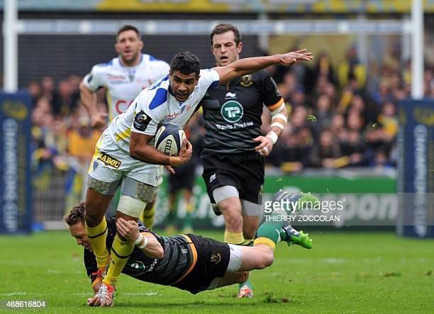 Clermont's French centre Wesley Fofana is tackled during the European Rugby Champions Cup1/4 final match between Clermont and Northampton on April 3,...