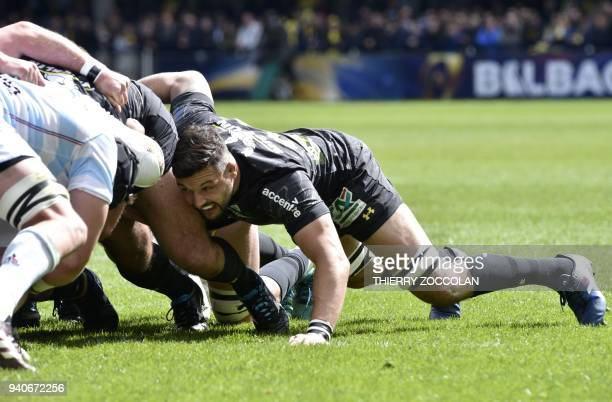 Clermont's French flanker Damien Chouly is seen in a scrum during the European Rugby Champions Cup Clermont vs Racing92 at the Michelin stadium in...