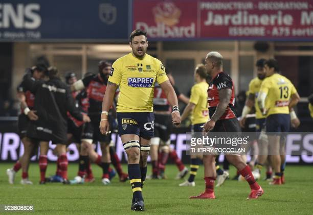 Clermont's French flanker Damien Chouly reacts after losing the French Top 14 rugby union match between Clermont and Oyonnax at the Michelin Stadium...