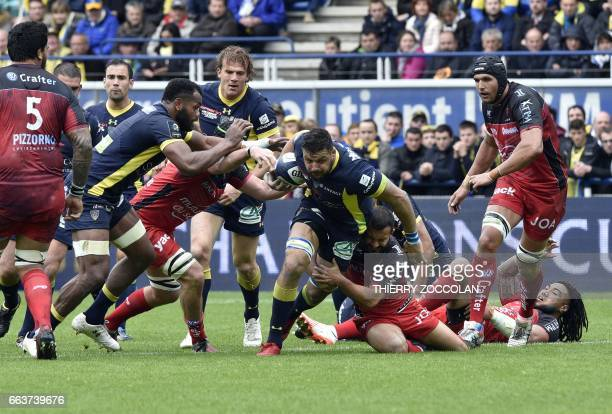 Clermont's French flanker Damien Chouly vies for the ball during quarterfinal rugby union match between Clermont and Toulon on April 2 2017 at the...