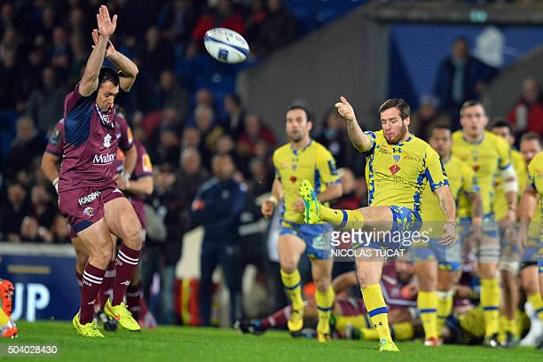Clermont's French flyhalf Camille Lopez kicks the ball during the European Rugby Champions Cup rugby union match between Union BordeauxBegles and ASM...
