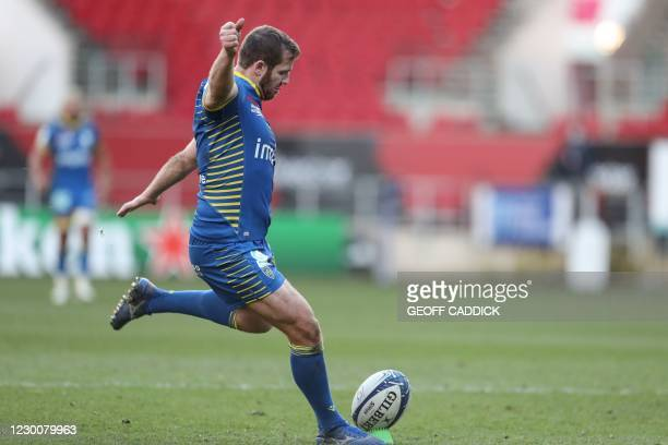 Clermont's French fly-half Camille Lopez kicks the ball for a penalty conversion during the European Rugby Champions Cup rugby union Group B match...