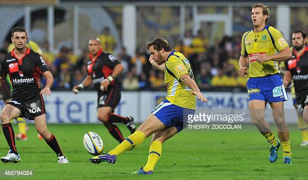 Clermont's French flyhalf Camille Lopez kicks the during the French Top 14 rugby union match ASM Clermont vs Lyon OU at the Michelin stadium in...