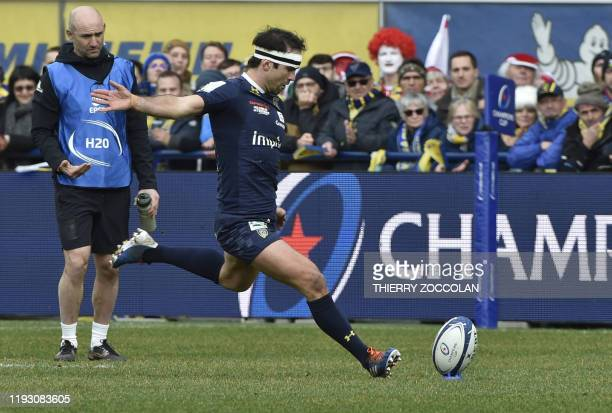 Clermont's French scrumhalf Morgan Parra hits a penalty kick during the European Champions Cup rugby union match between Clermont and Ulster at the...