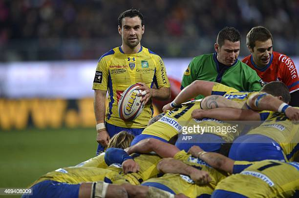 Clermont's French scrum-half Morgan Parra looks on before throwing-in during the French Top 14 rugby union match between Grenoble and Clermont...