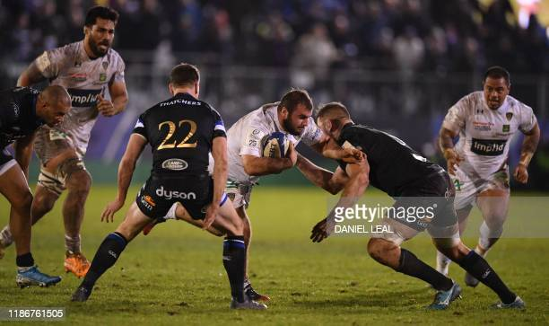 Clermont's Giorgi Beria gets tackled during the European Rugby Champions Cup group stage pool 3 match between Bath and Clermont Auvergne at The Rec...