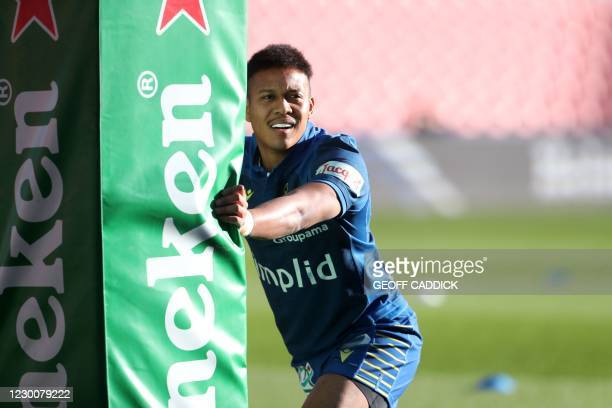 Clermont's Japanese full back Kotaro Matsushima warms-up before the European Rugby Champions Cup rugby union Group B match between Bristol and...